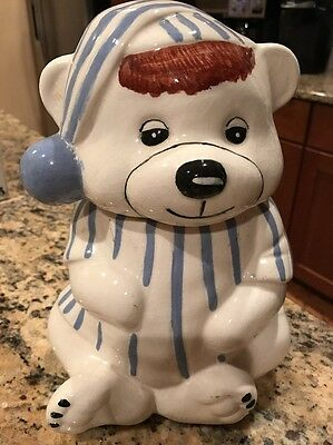 Vintage Sleeping Time Bear Cookie Jar Blue & White in Pajamas  Tnt
