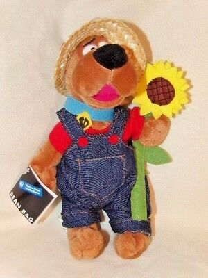 """Scooby Doo Sunflower Beanbag Plush Overalls Straw Hat 10"""" Wb New W/ Tags"""