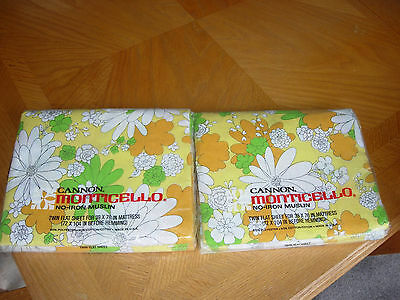 2 Vintage NIP Cannon 50/50 Monticello FLOWER POWER twin flat sheets
