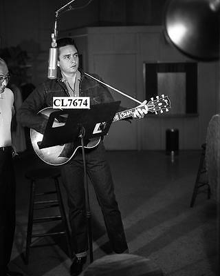 Johnny Cash Recording with Columbia Records Producer Don Law at Bradley Studio