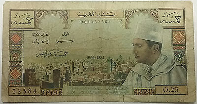 1965 MOROCCO 5 DIRHAMS Old MOROCCAN Money Note Currency Banknote