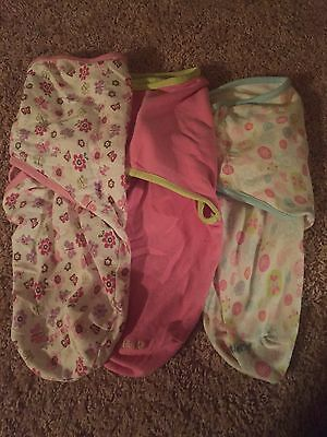 Newborn Girl Swaddle Me Blankets Lot Of 3 Small- Medium From 7-14 Lbs