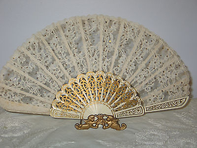 Antique Victorian Fan-Hand Carved  Painted FRENCH ALENCON NET Lace-Sequin