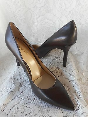 NINE WEST size 71/2 brown leather high heels shoes