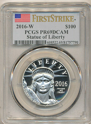 2016-W $100 Platinum Eagle PCGS PR69 FIRST STRIKE Proof American Eagle PF69 DCAM