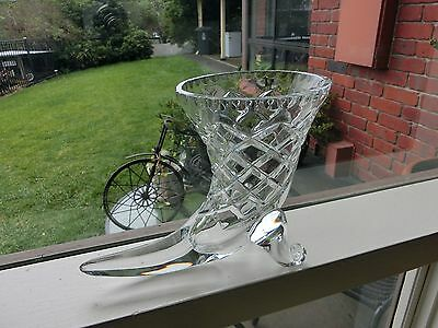 Vintage Cornucopia Diamond Cut Crystal Vase