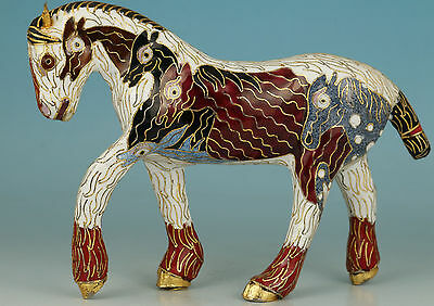 Noble Chinese Old Cloisonne Handmade Carved horse Statue Figure