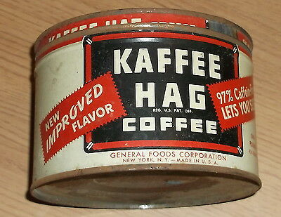 Old Coffee Tin Can Kaffee Hag Vg Cond