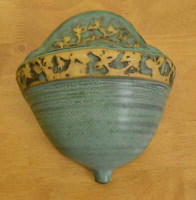 Hand Painted Teal Green Pottery Wall Hang Planter Wall Pocket Haghill Pottery