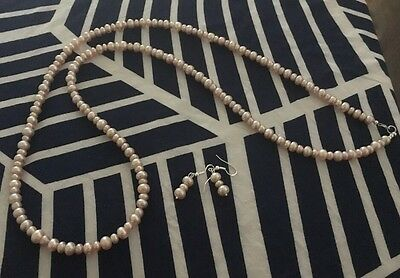 Pink Pearl Necklace And Earrings Set Sterling Silver