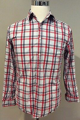 GAP Mens Small Red Gray Plaid Long Sleeve Button Front Shirt