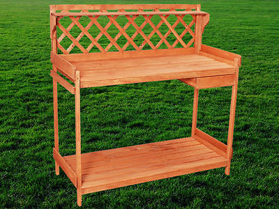Outdoor Garden Potting Work Bench Solid Wood Planting Station Yard Planter Table
