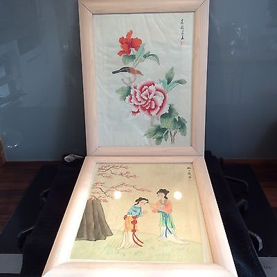 2 chinese hand painted Signed framed picures Famile Rose