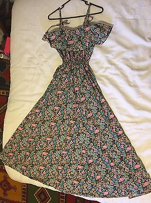 VINTAGE 70s floral maxi dress with ruffle