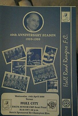 Hall Road Rangers  V Hull city  programme ERCFA Senior cup semi final 2000