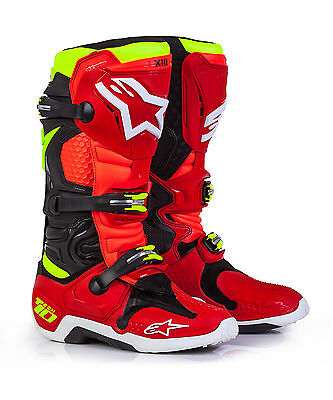 Alpinestars Tech 10 Off-Road MX Boots Limited Edition 'Torch' Red/Black/Yellow