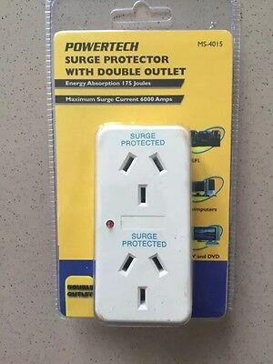 4 X Powertech Surge Protector with Double Outlet
