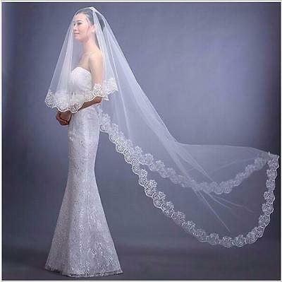 Cathedral Wedding Veils Floral Lace Edge Bridal Tulle White Ivory 1t 3m Length