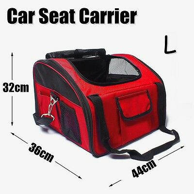 Pet Carrier Dog Cat Car Booster Seat Portable Soft Cage Travel Bag Large L Red
