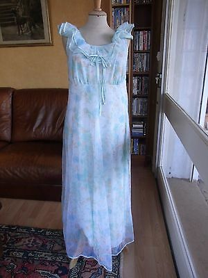 Chemise De Nuit Longue T40/42 Vintage 60 70 Long Night Dress Size M/l