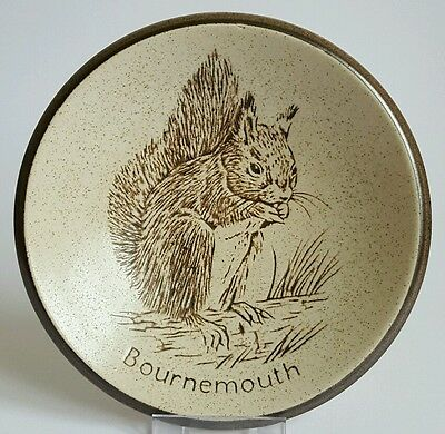 Vintage Pottery Plate Dish Bournemouth Collectible Tourist Ware Squirrel  Ref:A2