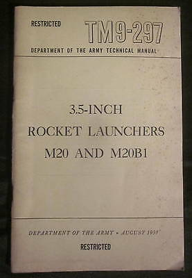 Vintage 1950 RESTRICTED US Army Technical Field Manual TM 9-297 ROCKET LAUNCHERS