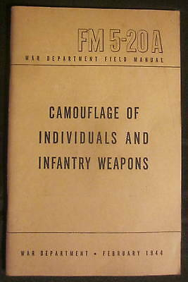Vintage 1944 Army Marines Field Manual FM 5-20A CAMOUFLAGE & INFANTRY WEAPONS