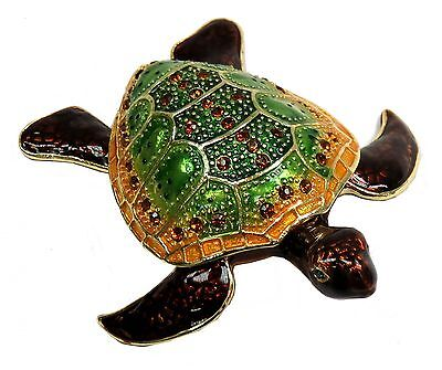 Hand Painted Turtle Trinket Box with Crystals FengShui Turtle Jeweley Box