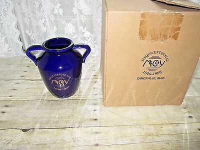 McCoy Signed Sesquicentennial 150 Year Commemorative Cobalt Blue And Gold Vase