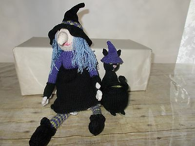 Halloween Knitted Witch Black Cat Cauldron No Broom