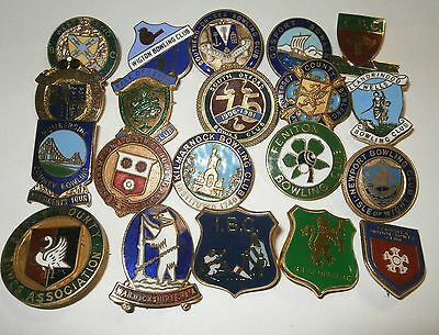Collection of 20 UK Bowling Association Bowling Club Enamel Badges Bowls Lot 14