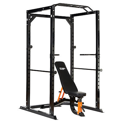 MIRAFIT 350kg Heavy Duty Olympic Power Cage with Semi Commercial Weight Bench