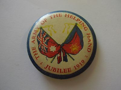 1919 Salvation Army Jubilee Button Badge Army Of The Helping Hand, Flags