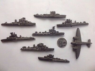 collection of old lead Frigate Battleships planes WW2