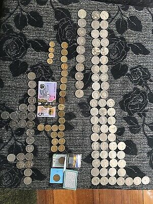 Australian 20 & 50 Cents $1 & $2 Dollar Coins & $5 Note Money Collection