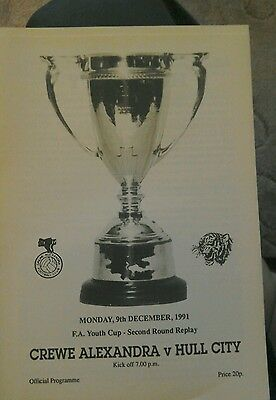 Crewe Alexandra V Hull City programme FA Youth Cup 2nd rd replay 9 December 1991