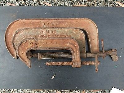 3 Vintage 'G' Clamps – 'Dawn 12In' – 'Carter 6In' – 'Malco 8In'