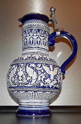 Angel griffin German Lidded Beer Stein Walzenkrug rare vintage pitcher tankard
