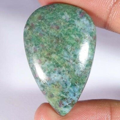 56.30Cts. 100% NATURAL RUBY IN FUCHSITE PEAR CABOCHON UNTREATED TOP GEMSTONE