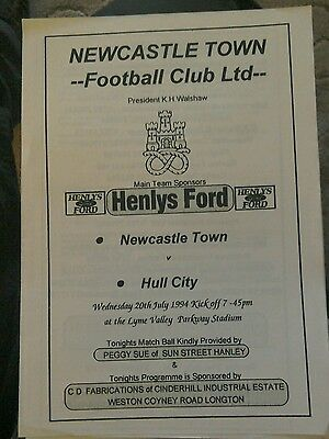 Newcastle Town  V Hull City friendly  programme 20 July 1994