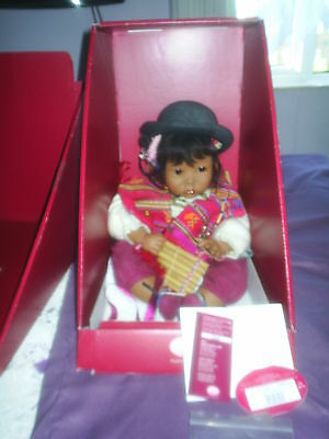 Carin Lossnitzer 1990 Gotz New Boxed Peruvian 23 Inch Baby Doll Mariana, & Paper
