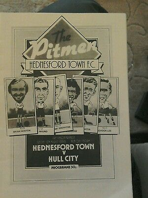 Hednesford Town v Hull City friendly  programme 12 August 1986