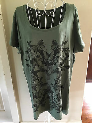 Ladies Short Sleeve Long Line Green Casual T-Shirt Size 18-20