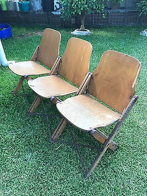 Vintage Wooden Folding Cinema Chair