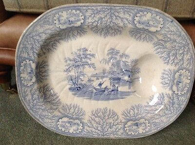 Antique meat plate blue and white willow type pattern