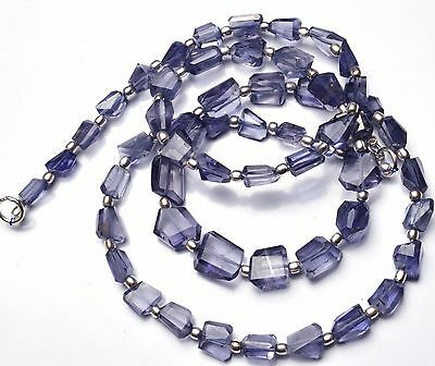 """Natural Gemstone Iolite Step Cut Faceted Nugget Beads Necklace 21"""" 119Cts."""