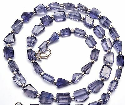 """Natural Gemstone Iolite Step Cut Faceted Nugget Beads Necklace 21"""" 118Cts."""