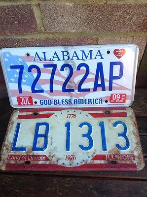 2 Old USA American Number Plates Licence Plates Alabama And Illinois Man Cave