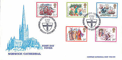 Norwich Cathedral Official First Day Cover-Christmas-Norwich Cathedral Shs-1982