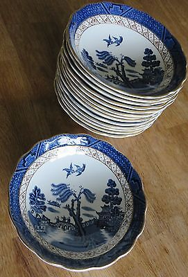 Pair of Booths Cereal / Desert Bowls  Real Old willow blue white - several